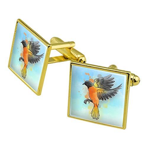 GRAPHICS & MORE Baltimore Oriole Watercolor Northeastern Bird Square Cufflink Set - Silver or Gold
