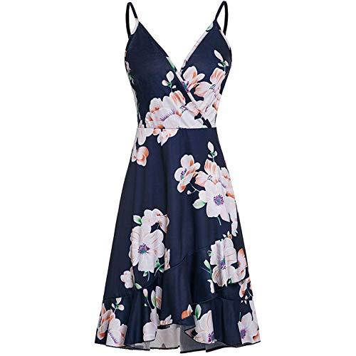 FQZWONG Women's Summer Mini Adjustable Spaghetti Dress Holiday Floral Print Wrap V Neck Dress Casual Ruffle Dress for Beach(B-Black,Small)