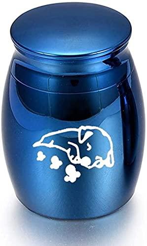 JLXQL Urnas de cremación Urnas de cremación de aleación de Aluminio Cenizas Perro Mascota Impermeable Urna de Recuerdo funerario-Blue_30x40mm