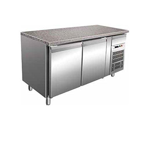 Tischplatte Gekühlt Bäckerei 2Türen Konvektion in Edelstahl mit Tischplatte aus Granit Temp. + 2/+ 8°C