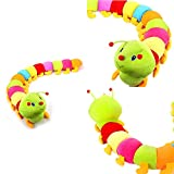 Kyuccfrsus Cute Stuffed Animal Plush Toy, Adorable Soft Toy Plushies Multicolor Soft Cotton Inchworm Caterpillar Toy Kids Children Doll Birthday Gift Colorful
