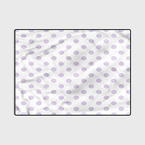 Soft Indoor Large Modern Area Rugs Lavender,Polka Dots Classical Tile Carpet Comfy Bedroom Home Decorate Floor Kids Playing Mat 4 x 5.3 Ft