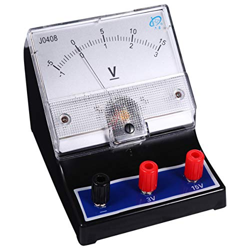 ULTECHNOVO Analoges Voltmeter 0-15 V Messuhr Messgerät Elektrische Spannung Voltmeter Amperemeter Versuchsapparatur Versuchsgeräte für Labor