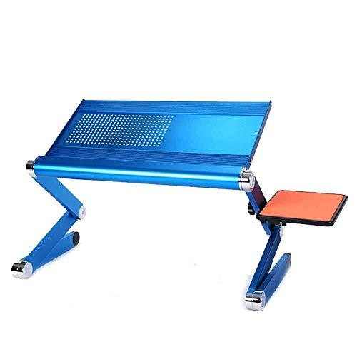 BINGFANG-W Portátil Bandeja de la Cama Cama de la Tabla, portátil Ajustable del Ordenador portátil de Escritorio de Aluminio/Soporte Extra Grande Alfombrilla de ratón de Montaje Lateral - Azul (Colo