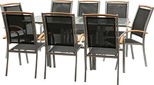 IB-Style - Salon de Jardin Diplomat-Quadro - Chaise EMPILABLE | 6 Variantes | Alu argenté/Textile/Bois Teck | Table à rallonge | Meuble de Jardin Table Chaises | 9 pièces