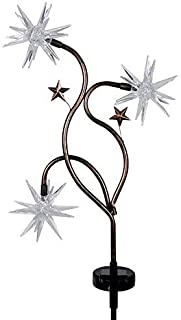 Exhart Triple Color Starburst Garden Stake - Patriotic Starburst Solar Stake Lights in Blue, Red & White Accent Colors - Glow Stars Outdoor Decor with Solar Powered Lights, 11 L x 3