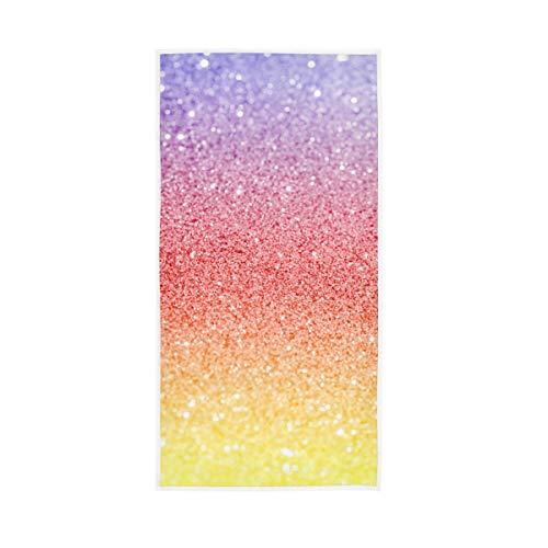 Rootti - Toalla de mano de algodón con patrón de purpurina, lavable, toalla de cara, suave y transpirable, juego de toallas para nadar y hotel