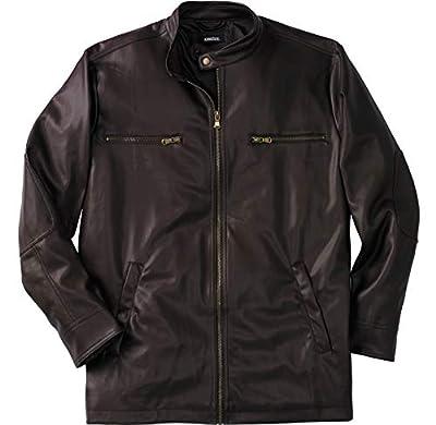 KingSize Men's Big & Tall Faux Leather Moto Jacket - Big - 6XL, Brown from KingSize