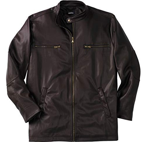 KingSize Men's Big & Tall Faux Leather Moto Jacket - Tall - 3XL, Brown