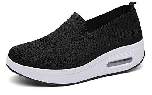 Zapatillas cuña Mujer Zapatos Deporte Gimnasio Zapatillas de Running Ligero Sneakers Cómodos Fitness Zapatos de Trabajo, Negro, 40 EU