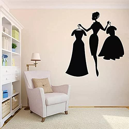 Tienda Calcomanías De Pared Moda Chica Compras Tienda De Ropa Decoración De Interiores Vestido Vinilo Pegatina Para Ventana Niñas Dormitorio Decoración 42X46 Cm