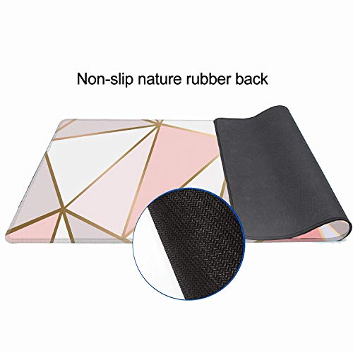 """ZYCCW Large Gaming XXL Mouse Pad with Stitched Edge 31.5""""x11.8""""x0.15"""" Rose Gold Marble Mouse Mat Customized Extended Gaming Mouse Pad Anti-Slip Rubber Base Ergonomic Mouse Pad (Rose Gold Mouse pad) Photo #4"""