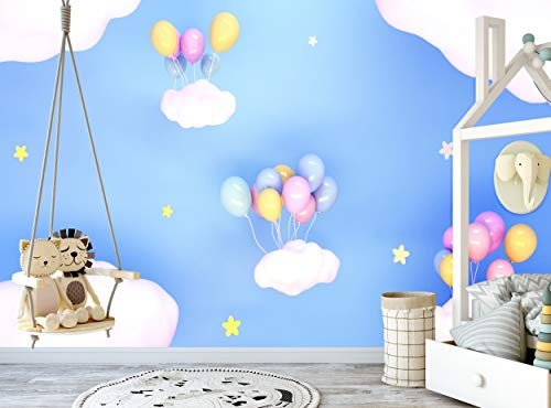 3D-Fotototapete, bunte Luftballons, Sterne, Himmel, Nacht, Wandbild, Wanddekoration, riesiges Wandbild, inklusive Kleister für Kinderzimmer