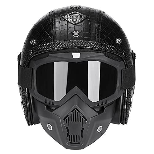 ハーフヘルメット 半帽 半キャップヘルメット ジェットヘルメット メンズ レディース レトロ 3/4ヘルメット バイザー付き ゴーグル マスク付 ハーレーハーフヘルメット オールシーズン BICOOL (ブラック皮紋3+茶色フェイスマスク, XL)
