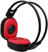 KRISMYA Foldable Wireless Radio Headphone Portable FM Stereo Headset Radio,Headphones with Radio Built in (Black Red)