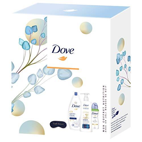 Dove Coffret Nutrition avec un joli masque de nuit, Gel Douche nutrition, Lait pour le Corps & Déodorant Spray original, Nutrition et hydratation intense, testé dermatologiquement, Idée cadeau, x1
