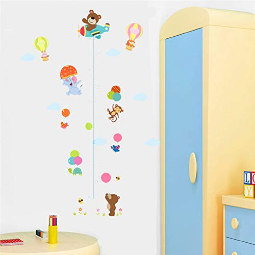 HANXIN Balloon Height Measurement Wall Stickers Kids Room Growth Chart Animal Wall Decals Diy Decoration