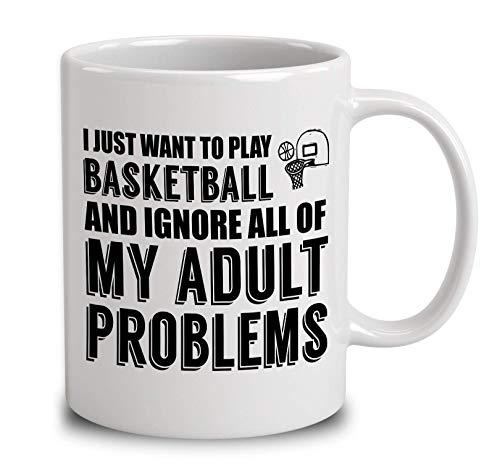 N\A Solo Quiero Jugar Baloncesto Taza de café Blanca de 11 onzas