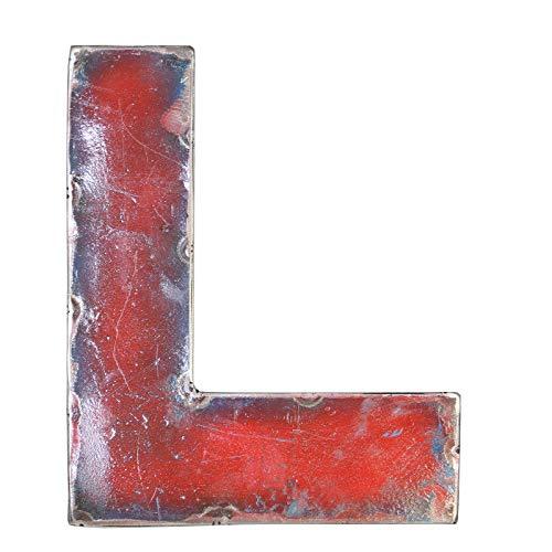 Boogs Metallbuchstabe L im Vintage Stil | Retro Buchstaben aus Metall | Industrial Deko Metallbuchstaben | Rot auch in Anderen Farben