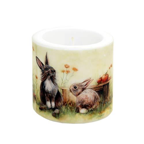 Kerze rund Cute Rabbits | Niedliche Hasen | Tischdeko Ostern | Ø 8cm | Höhe 7,5cm