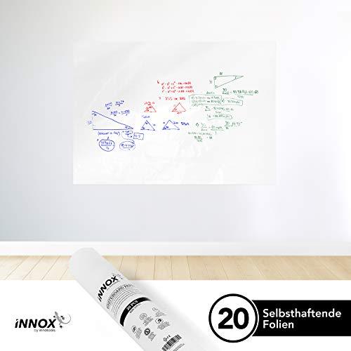 Elektrostatisch Selbsthaftende Whiteboard Folie von INNOX® - haftet magnetisch an allen Oberflächen | Ideales Flipchart Papier für Meetings, Brainstorming und Coaching | Weiß, 20 Blatt