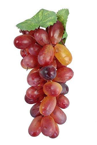 Deko Weintrauben Rispe Wein Trauben Kunstobst Kunstgemüse künstliches Obst Gemüse Dekoration (Rose länglich, 18 cm)