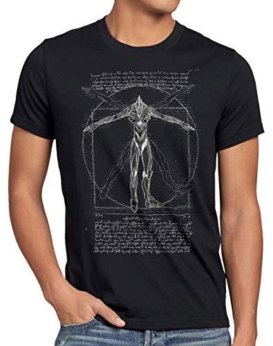 style3 Evangelion Vitruviano T-Shirt da Uomo Anime Robot Kaiju, Dimensione:L, Colore:Nero