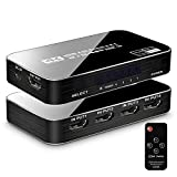 ULBRE HDMI Switch 4 Port 4K 60Hz HDMI Switcher Box 4 in 1 Out, Supports HDMI 2.0 HDCP 2.2 Full 3D Ultra HD 1080p Video Selector Hub for TV Box/PS3/PS4/Xbox/Blue-ray Player/Laptop