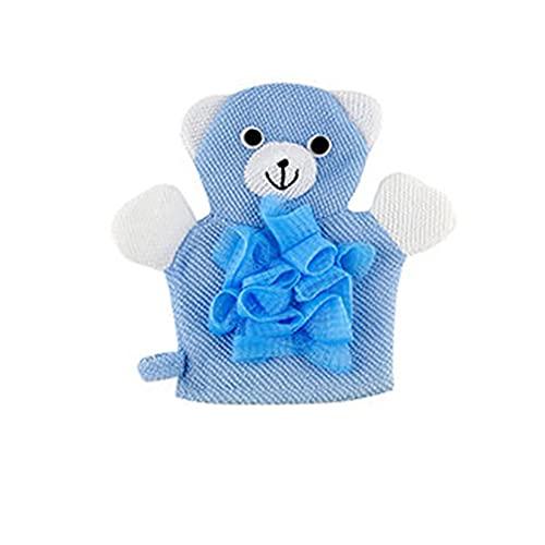 Eco Memos Manoplas exfoliantes 2 en 1 y luofas de ducha para niños – Lindo patrón de ducha de malla de lufa corporal exfoliante para piel muerta y eliminación de bronceado falso (azul)