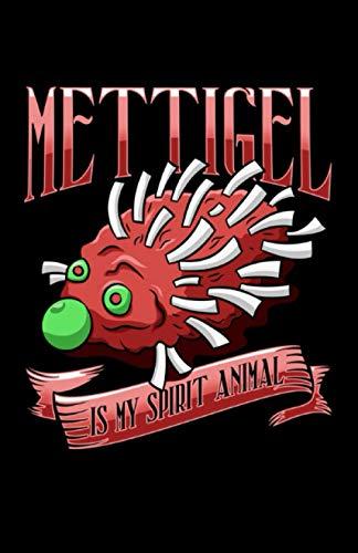 Mittigel Is My Spirit Animal: Notizbuch mit 120 Seiten liniertem Papier (5.5x8,5 Zoll, ca. DIN A5 / 13.97 x 21.59 cm) Mettigel Spirit Animal Mettbrötchen Gehacktes Hackfleisch