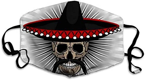 Skull Mexican Style with Sombrero and Mustache On Striped Mouth Face Mask Anti Breathable Filter product image