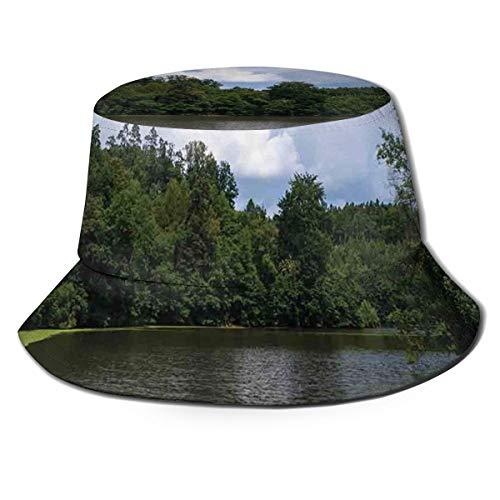SUHETI Fischerhüte,Teich voller Algen in nordeuropäischer Landschaft Seltsame magische Naturthemen,Bucket Hat Unisex Faltbar Anglerhut Zum Wandern Camping Reisen Angeln