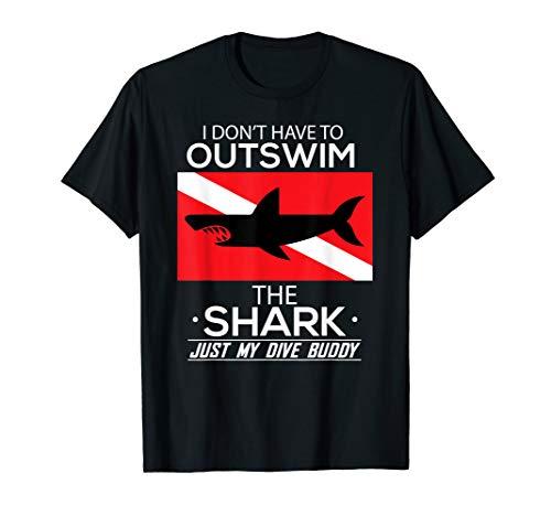 Out Swim My Dive Buddy Funny Shark Scuba Diving T-Shirt