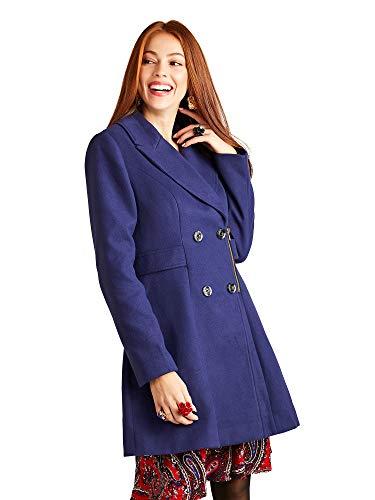 YUMI - Abrigo con Cremallera Militar, Color Azul Marino