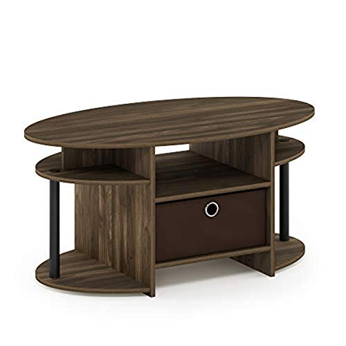 FURINNO Jaya Oval Coffee Table, Columbia Walnut/Black/Dark Brown