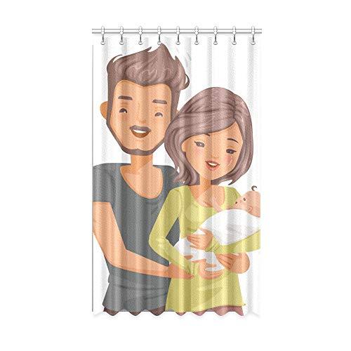 Rideaux de fenêtre de Poulet New Born Parents Holding Baby Infant Side Window Curtains 50 X 84 inch One Piece for Patio Sliding Glass Door/Bedroom
