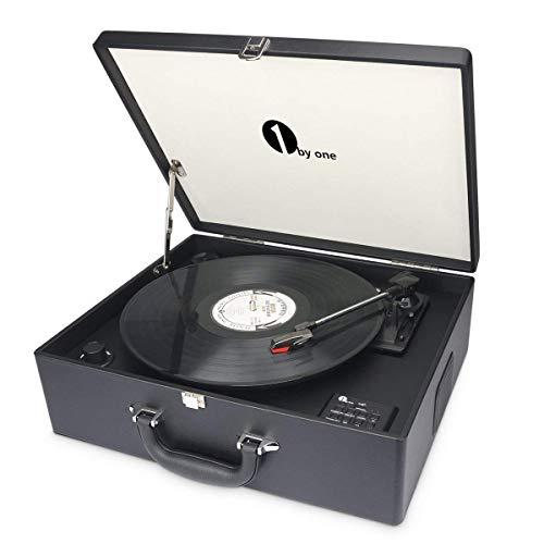 1byone Maletín tocadiscos de 3 velocidades con altavoces incorporados, grabador de vinilo a MP3, USB reproductor MP3, bluetooth, entrada AUX y RCA, negro