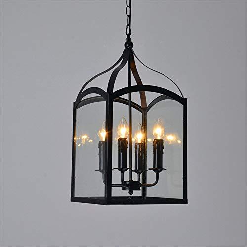 GLBS E14 Eisen Kunst Retro Glas 4 Köpfe Anhänger Leuchte Vintage Haushalt Business Innendekoration Beleuchtung Hängelampe Amerikanischen Laterne Restaurant Droplight