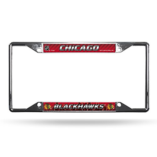 NHL Rico Industries Easy View Chrome License Plate Frame, Chicago Blackhawks, 6 x 12.25-inches