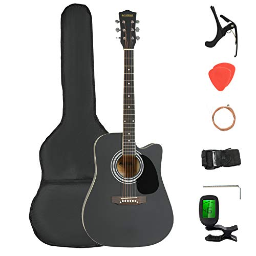 LAGRIMA LGA-400 Full Size 41 inch Beginner Cutaway Acoustic Guitar Set,Starter Guitar Kit with Case, Tuner, Strap, Picks, Strings, Capo for Beginners/Adults,Black