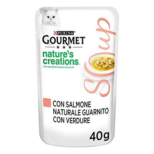 Gourmet Crystal Delicate Suppenfond für die Katze, mit natürlichem Lachs, garniert mit Gemüse, 40 g, 32 Stück