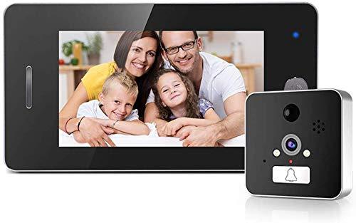 ZGYQGOO Sonnette vidéo sans Fil, Sonnette Intelligente sans Fil WiFi, interphone visuel Basse consommation 960P, Conversation bidirectionnelle, caméra Vision Nocturne IR, détection Mouvement, Noir