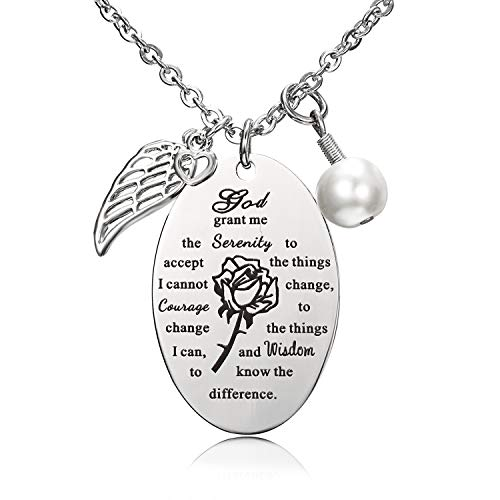 Blerameng God Grant Me The Serenity to Accept The Bible Verse Prayer Necklace with Free Chain Christian