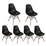 Dining Chairs FurnitureR Set of 6 Eiffel Style Side Chairs Modern Plastic Cover Wood Legs for Kitchen Dining Room Living Room Black