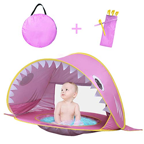 Kids Tent Beach Foldable Pop Up Play Tent, Kids Tent Shark Play Tent Playhouse, Beach Camping Tent Anti-UV Waterproof Tent Indoor Outdoor Swimming Pool Toys Gift,A