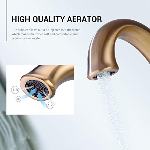 2-Handle 8 inch Gold Widespread Bathroom Faucet, 3 Holes Basin Faucet, Mixer Sink Faucet with Pop Up Drain,Brushed Gold