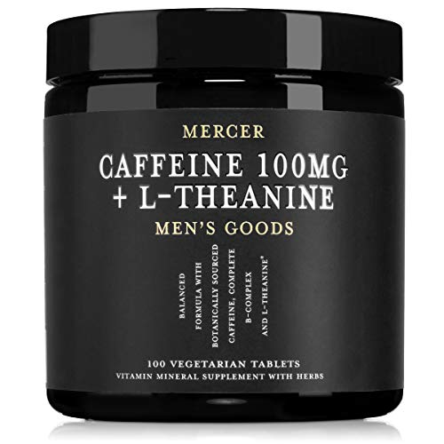 Mercer Men's Goods: Caffeine 100mg + L-Theanine Caffeine Pills, Natural Energy and Focus Supplement for Men
