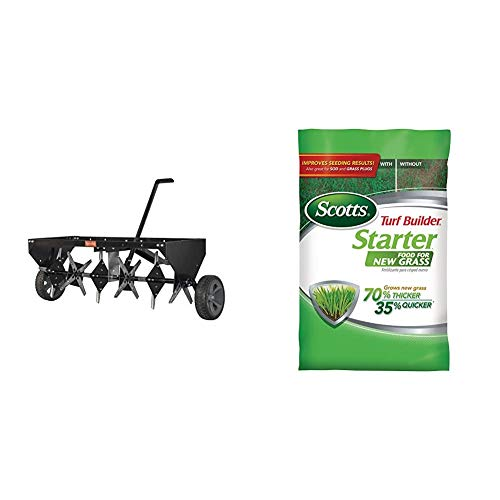 """Agri-Fab 45-0518 40"""" Tow Plug Aerator,Black & Scotts Turf Builder Starter Food for New Grass, 15 lb. - Lawn Fertilizer for Newly Planted Grass - Covers 5,000 sq. ft."""