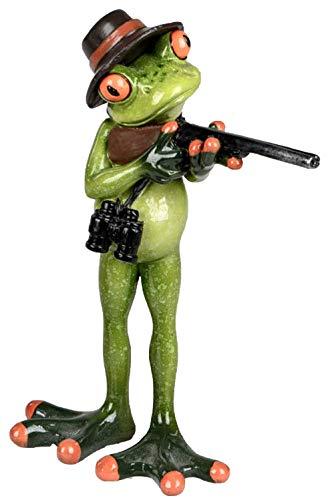 dekojohnson Statuette de grenouille amusante en forme de grenouille debout, vert clair, 16 cm - Figurine en pierre artificielle - Superbe idée de cadeau - grenouille avec carte cadeau incluse
