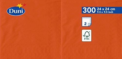 Duni Serviettes en papier, 24 cm x 24 cm, 2 plis, mandarine, 2400